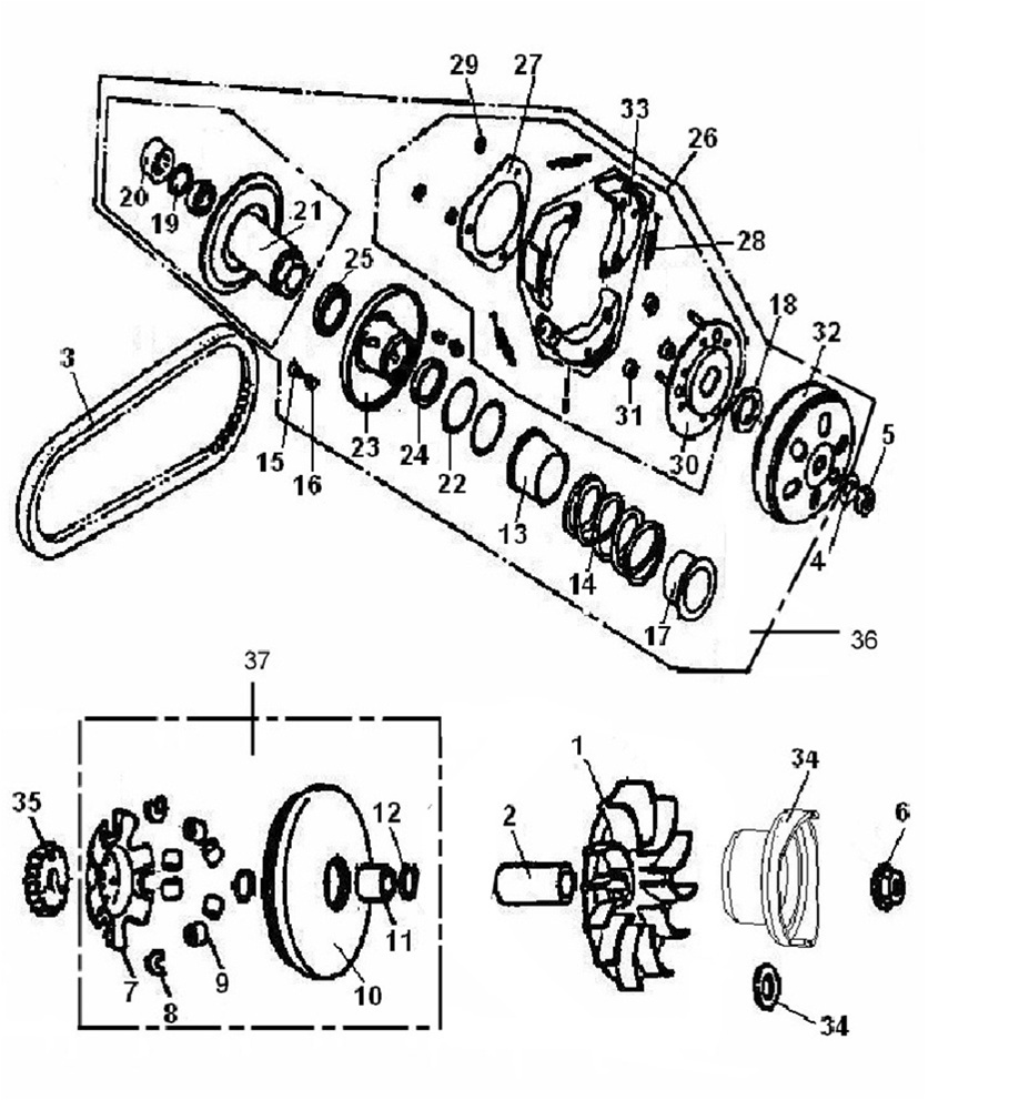 Chinese Atv Engine Parts Diagram Wiring Library 90cc Drive Pulley Of Linhai 200cc Cvt